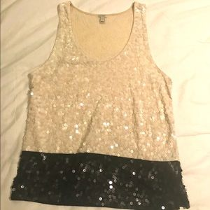Cream and navy J Crew sequined tank top